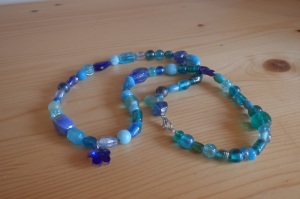 Blue Necklace with Flower Pendant